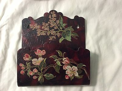 Stunning ANTIQUE Hand Painted LACQUER Japan Letter Holder
