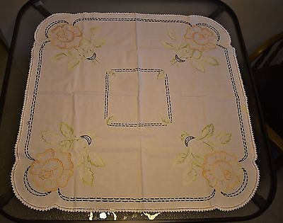 "Vintage hand embroidered square tablecloth - 32"" - yellow roses - cotton?"