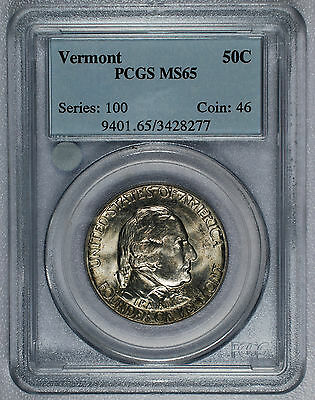 1927 Vermont Commemorative Half Dollar 50c - PCGS MS65