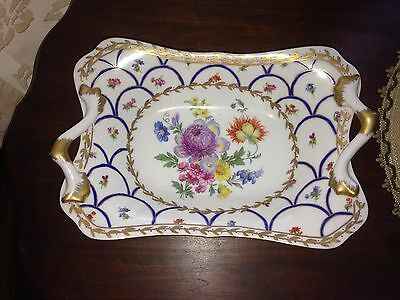 """Elios Hand Painted Square Curved Bowl 11.5"""" Dresden Flowers Cobalt Blue Gold Han"""