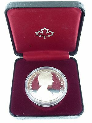 1985 Canada Silver Dollar Moose Proof Coin in Box with COA (KM#143) (1)