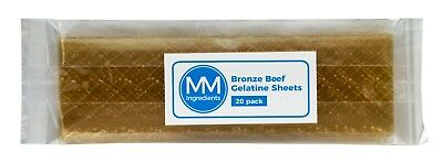 20 Sheets of professional grade Bronze Leaf gelatine Beef