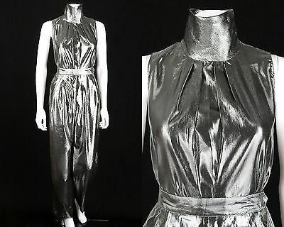 VTG 1980s ANNE KLEIN NEW ASPECTS 2 PC SILVER METALLIC LAME TOP PANTS SET 8 / 10