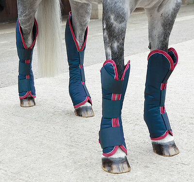 NEW Shires Shaped Padded Travel Horse Boots - Set of 4 - Navy - Pony, Cob, Full