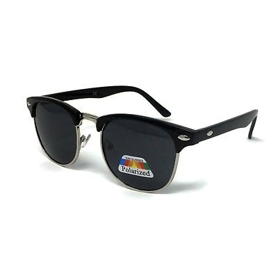 POLARISED Black Clubmaster Sunglasses Mens Ladies Retro Shades POLARIZED Classic