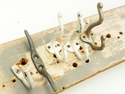 Lot of 5 Vintage Coat Hat Towel Hooks Rustic Primitive Farm School House
