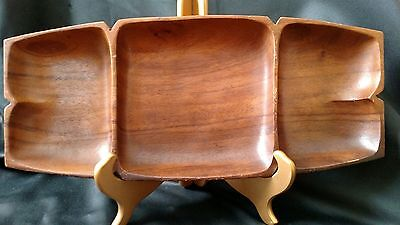 Vintage Leilani genuine Monkey Pod Wood hand crafted divided tray Phillipines