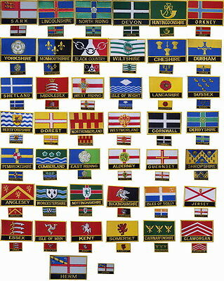 United Kingdom County Flag & Regional Flag iron s on Embroidered Patch Badge set