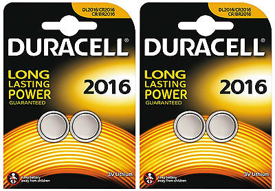 4 X Duracell CR2016 2016 3V Lithium Coin Cell Batteries DL2016B2 2 TWIN PACKS