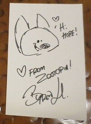 Pixar Byron Howard Nick Wilde Zootopia sketch signed autographed 5x8 index card