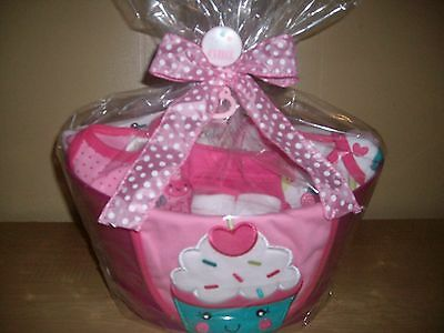 "Baby Girl ""Sweet As A Cupcake"" 26 Piece Baby Shower Gift Basket or Centerpiece"