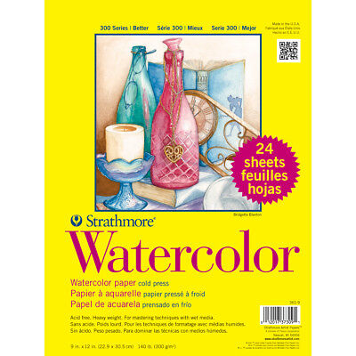"""Strathmore Watercolor Paper Pad 9""""X12"""" 24 Sheets 361900"""