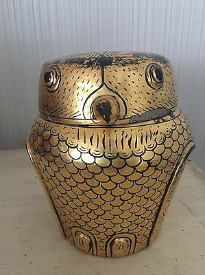 Vintage Burmese Gold Leaf On Black Lacquer Figural Owl Bird Lidded Trinket Box