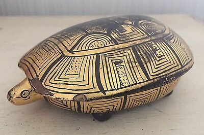 Vintage Burmese Gold Leaf On Black Lacquer Figural Turtle Lidded Trinket Box