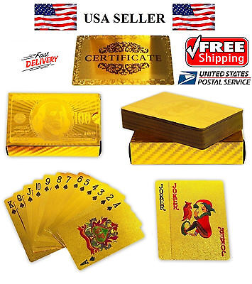 NEW Certified 24K GOLD Foil plated POKER PLAYING CARDS Deck Collection US Dollar