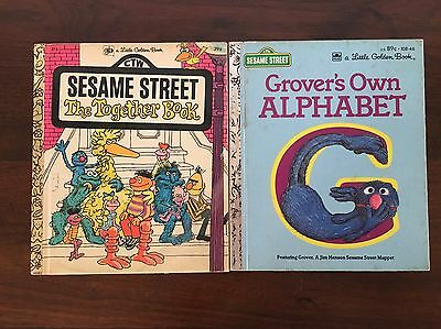 Vintage Golden Books Sesame Street Lot 2 Children's Books