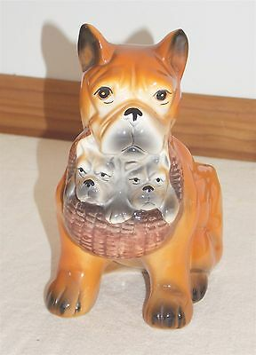 Vintage Boxer Dog with Puppies Porcelain Planter Vase - FREE SHIP