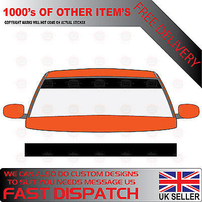 GLOSS BLACK WINDSCREEN SUNSTRIP 1400mm x 190mm CAR DECALS GRAPHICS STICKERS