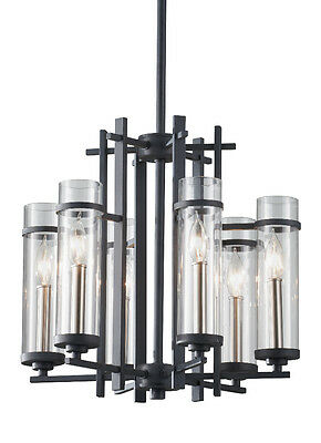 Antique Forged Iron/Brushed Steel Ethan 6-Light Chandelier W/Cylindrical Glass