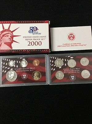 2000 United States US Mint 10pc Silver Proof Set