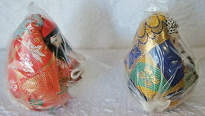 Japanese Dolls Set - Egg Shape - Red, Gold and Black, New in wrappers