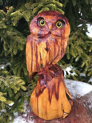 Chainsaw Carved Owl Red Cedar Wood Carving Rustic Log Home Garden Decor