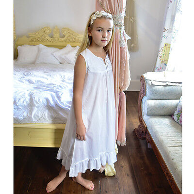 Girls White Cotton Nightie Nightdress BNWT Powell Craft Georgia Age 1-12