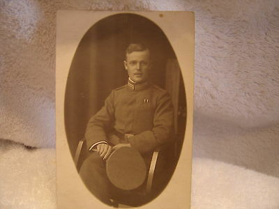 Original W W 1 Pc Studio Photo Of A Handsome Soldier With Cap In Hand