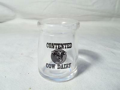 Contented Cow Dairy Restaurant Mini Coffee Creamer Glass Bottle Single Serve