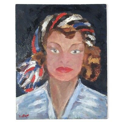 Vintage French Oil Painting on Board, Portrait of a Woman, Signed Tostain