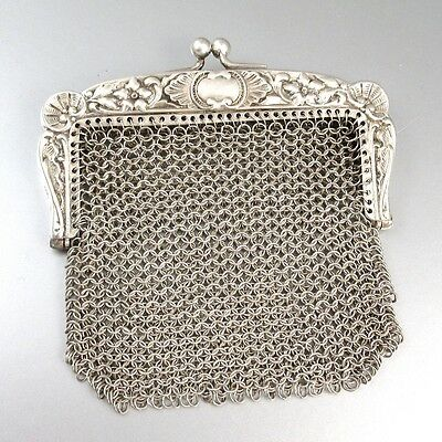 Antique European Silver 800 Mesh Purse, Shells and Flowers
