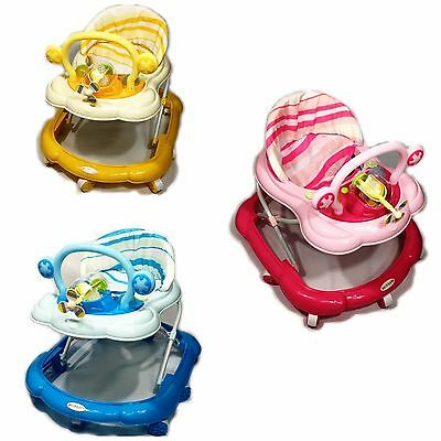 Baby Walker First Steps Activity Bouncer Musical Toy Push Along Pink Ride On Fan
