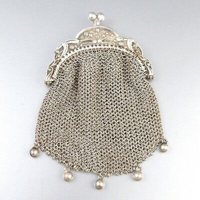 Antique French Silver 800-1000 Mesh Purse, Two Compartments, Mistletoe