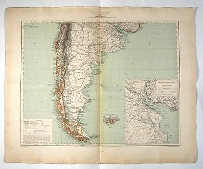 Antique French Map of South America (Argentina, Chile, Uruguay, Falkland), 1891