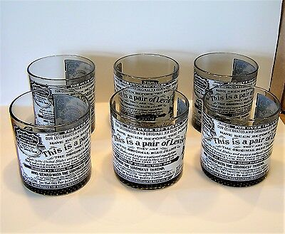 6 Levi Strauss & Co Advertising Drinking Glass Glasses Tumbler Set Old Fashioned