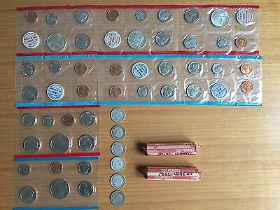 Proof Sets (lot of 8) + Penny Rolls (2) + 80 % Silver Canadian Quarters (6)