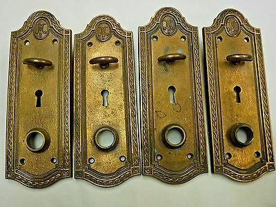 Antique Solid Brass Door Plates with Thumb Turn by Russwin
