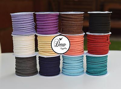 2 Meters 3mm Suede Faux Leather Cord String Jewellery making Bracelet DIY craft