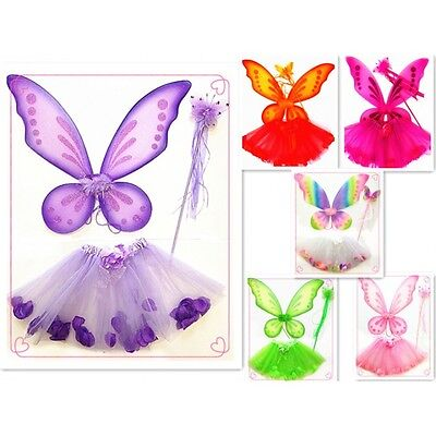 Kids Fairy Pixie Costume Costplay Butterfly Sparkling  Wings