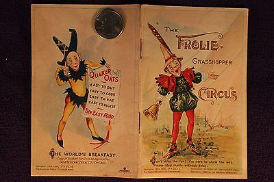 """1895 Quaker Oats Pamphlet of """"The Frolie Grasshopper Circus"""""""