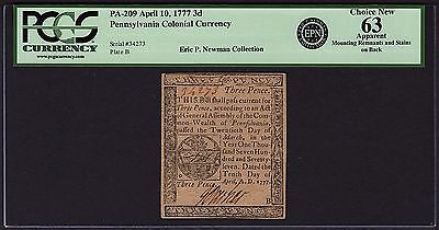 1777 PA Pennsylvania Colonial Note PCGS APPARENT 63 EPN Eric P Newman Collection