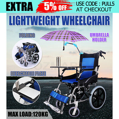 New Fold Light Weight Aluminum Wheelchair Transport Aid Park Brakes Push Travel
