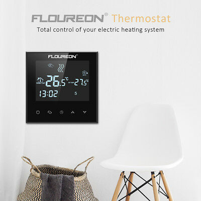 large lcd thermostat fu bodenheizung raumthermostat programmierbar touch screen eur 24 99. Black Bedroom Furniture Sets. Home Design Ideas