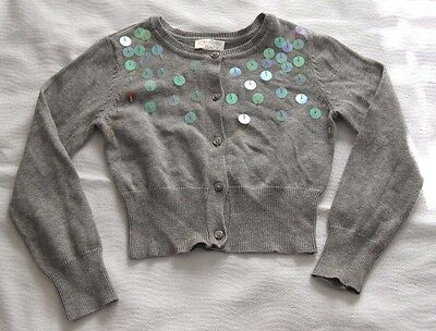 Childrens Place Little Girls Grey Sequined Cardigan Size Small Size 5 6 Preowned