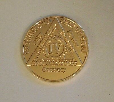 Aa Gold Plate Coin 4 Year  New Aa Alcoholics Anonymous  Chip Medallion Token