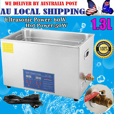 Digital 1.3L Ultrasonic Cleaner Stainless Heater Timer Industrial Watch Jewelry