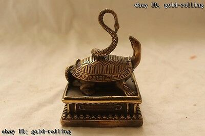 """5""""Chinese Folk Bronze carved excellent Lucky Lifelike snake tortoise Statue"""