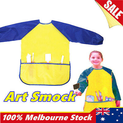 Art Smock Kids Waterproof Apron Long Sleeve Painting Craft Cooking Girls Boys