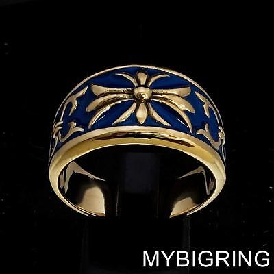 Medieval Bronze Knight Ring Fleur De Lis Cross Lily With Blue Enamel Any Size