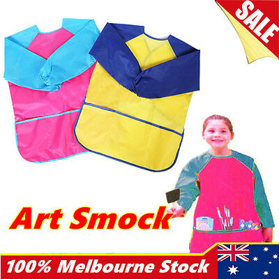 Girls Boys Art Smock Kids Waterproof Apron Long Sleeve Painting Craft Cooking
